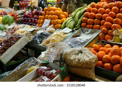 Market stall with colorful fruits and vegetable