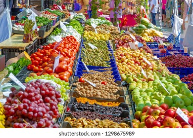 Market stall with fresh fruits and vegetables in Valldemossa, Mallorca