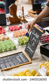 market stall with gluten-free macaroons for sale at the Stockbridge weekly farmers market