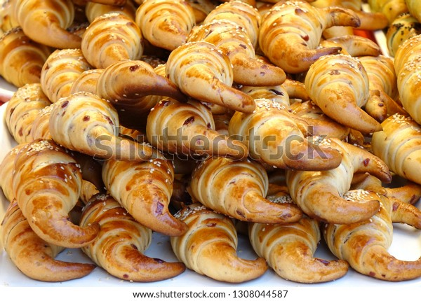 A market stall sells freshly baked Taiwan style croissants