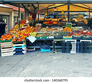 Market stalls with variety of organic vegetables and fruits