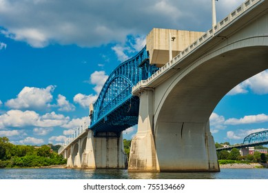 The Market Street Bridge, or John Ross Bridge, over the Tennessee River in Chattanooga