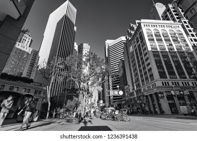 Market street and Montgomery street, San Francisco, USA, December 4, 2017