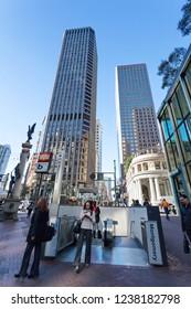 Market street and Montgomery street, subway station montgomery, San Francisco, USA, December 4, 2017.