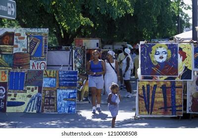 a Market street in the old town of the city Havana on Cuba in the caribbean sea.   Cuba, Havana, September, 2005