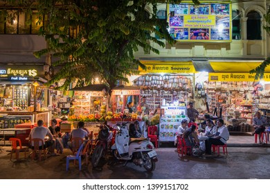 a market street in the old Town in the city of Siem Reap in northwest of Cambodia.   Siem Reap, Cambodia, November 2018