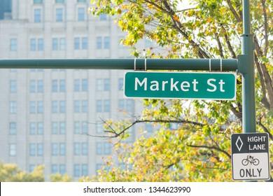 Market street sign, the principal street in Philadelphia downtown (center city), USA