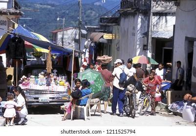 a market street in the Village of Gracias in Honduras in Central America.     Honduras, Gracias, December, 2009