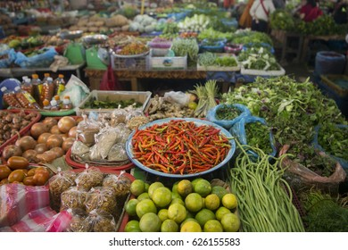 the market in the town of Phonsavan in the province Xieng Khuang in north Lao in southeastasia.