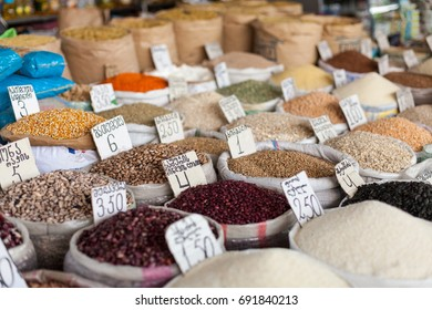 Market with traditional spices in Tbilisi, Georgia