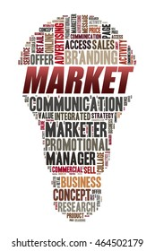 MARKET word on word cloud concept with bulb shape