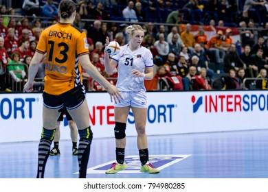 Marketa Jerabkova from Czech in attack at handball game between Nederland and Czech Republic final score: 30 - 26  at IHF World Championship - Germany 2017 - Quarter Finals, Magdeburg - 13.12.2017