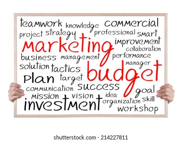 marketing budget and other related words handwritten on whiteboard with hands