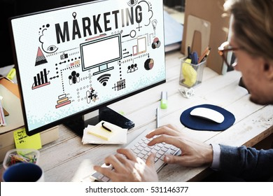 Marketing Business Strategy Analysing Icons Concept