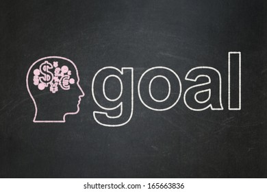 Marketing concept: Head With Finance Symbol icon and text Goal on Black chalkboard background, 3d render