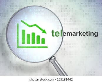 Marketing concept: magnifying optical glass with Decline Graph icon and Telemarketing word on digital background, 3d render