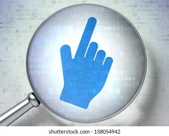 Marketing concept: magnifying optical glass with Mouse Cursor icon on digital background, 3d render