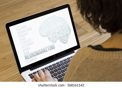 marketing concept: neuromarketing on a laptop screen. Screen graphics are made up.