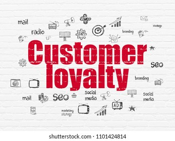 Marketing concept: Painted red text Customer Loyalty on White Brick wall background with  Hand Drawn Marketing Icons