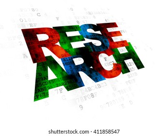 Marketing concept: Pixelated multicolor text Research on Digital background