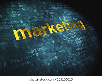 Marketing concept: pixelated words Marketing on digital background, 3d render