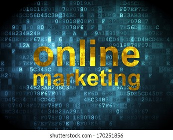 Marketing concept: pixelated words Online Marketing on digital background, 3d render