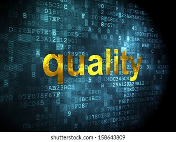 Marketing concept: pixelated words Quality on digital background, 3d render