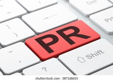 Marketing concept: PR on computer keyboard background