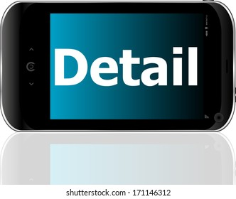 Marketing concept: smart phone with text detail on display. Mobile smart phone on White background