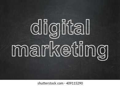 Marketing concept: text Digital Marketing on Black chalkboard background