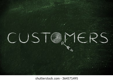 """marketing concepts: the word """"customers"""" with real targets and arrows"""
