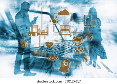 Marketing Data management platform concept. Data collection icons with Big data analytic message on Double exposure of modern department store, silhouette of business man standing using smart phone.