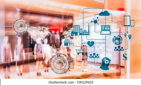 Marketing Data management platform concept image. Data collection icons on abstract Fashion stroe background.