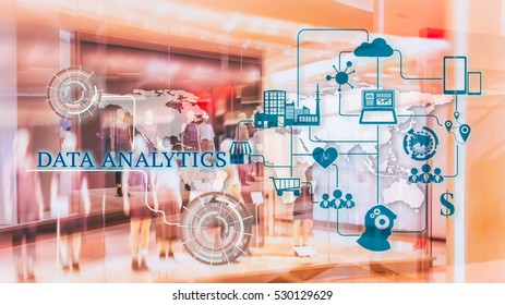 Marketing Data management platform concept image. Data collection icons with Big data analytic message on abstract Fashion stroe background.