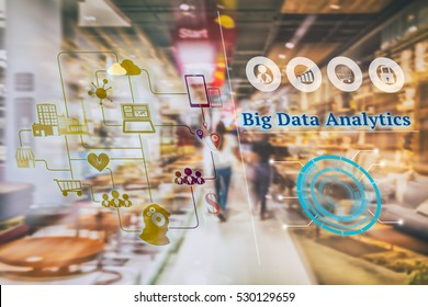 Marketing Data management platform concept image. Data collection icons with Big data analytic message on abstract furniture mart background.