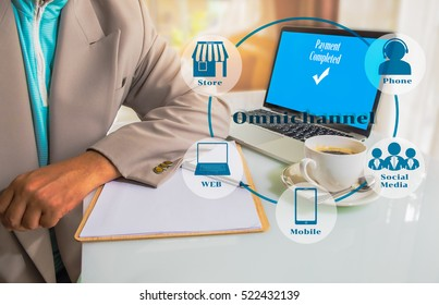 Marketing Data management platform and Omnichannel concept image. Omnichannel element icons on Business man place his hand on blank paper on the table with laptop computer with payment on screen.