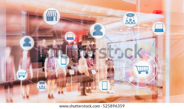 Marketing Data Management Plattform und Omnichannel Concept Image. Omnichannel-Elemente-Symbole auf abstraktem Fashion Store-Hintergrund.