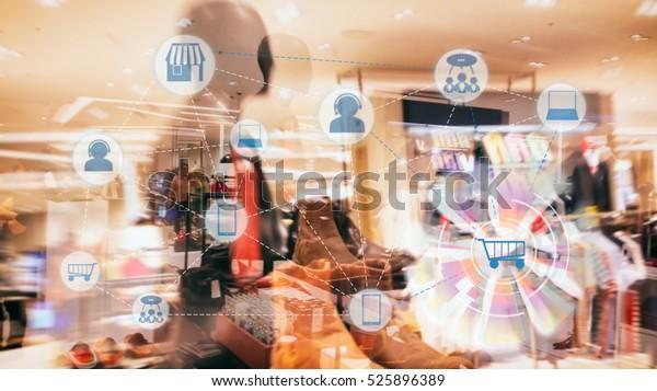 Marketing Data Management Plattform und Omnichannel Concept Image. Omnichannel-Elemente-Symbole auf abstraktem Fashion Store-Hintergrund.