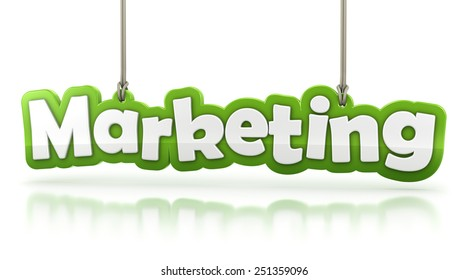 Marketing green word text isolated on white background with clipping path