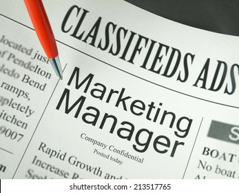 Marketing Manager: job opportunities in newspapers