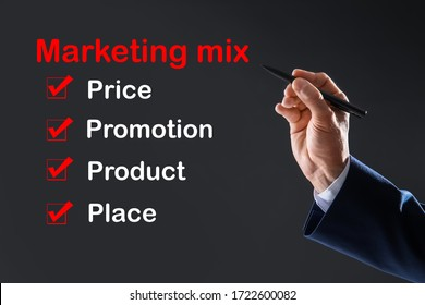 Marketing mix concept. Businessman demonstrating 4P principles, closeup