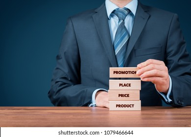 Marketing mix (product, price, place, promotion - 4P) concept. Marketer put together optimal marketing mix.