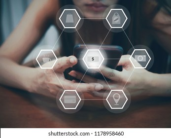 marketing online with social communication concept, women use smartphone for marketing online.