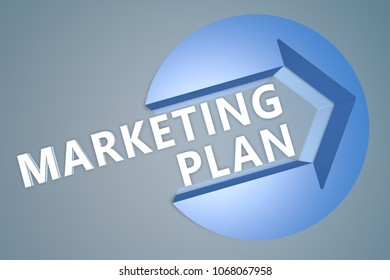 Marketing Plan - 3d text render illustration concept with a arrow in a circle on blue-grey background