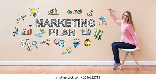 Marketing Plan with young woman holding a pen in a chair