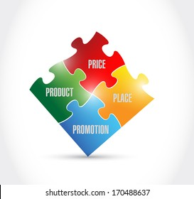 marketing puzzle pieces illustration design over a white background