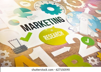 Marketing research concept design. Concept for website and mobile banner, internet marketing, social media and networking, e-commerce, presentation template, marketing material.