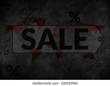 Marketing with Sale and Promotion Concept create on World Map and Old Black Vintage Leather Texture Background