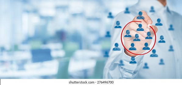 Marketing segmentation, target audience, customers care, customer relationship management (CRM), customer analysis and focus group concepts with wide composition.