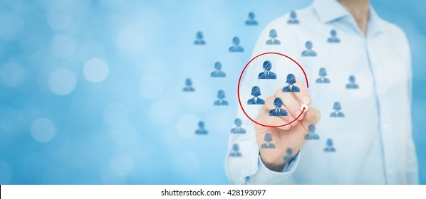 Marketing segmentation, target audience, customers care, customer relationship management (CRM), human resources, customer analysis and focus group concepts. Wide banner composition, bokeh.